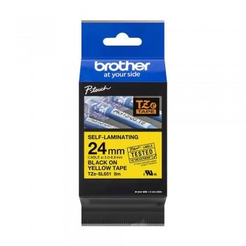 Brother TZe-SL651 Genuine Self Laminating Label, 24mm Black on Yellow