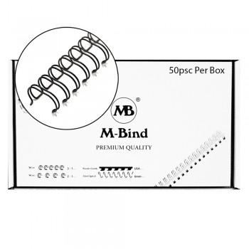 "M-Bind Double Wire Bind 2:1 A4 - 1""(25.4mm) X 23 Loops, 50pcs/box, Black"