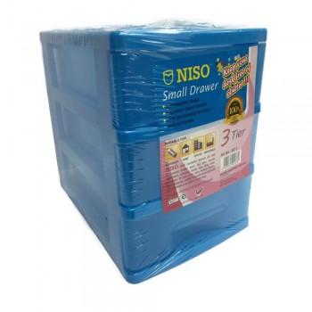 NISO 3 Tier Small Drawer Blue 17 x 4.5 x 12cm